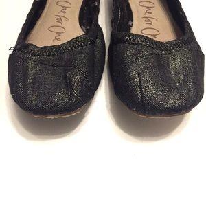 Shoes - TOMS Black Linen Metallic Ballet Flat Size 9.5